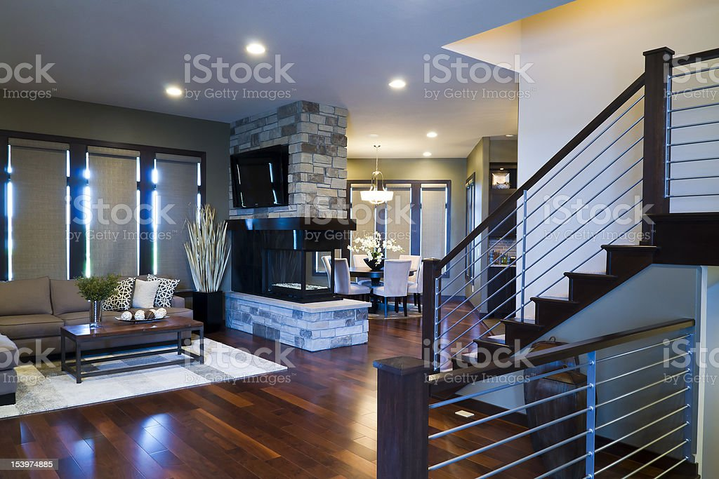 Fireplace and Living Room royalty-free stock photo