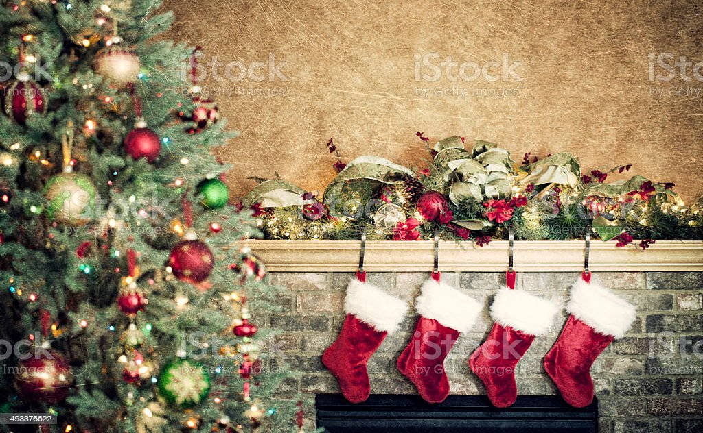 Fireplace Decorated for Christmas on Gold stock photo