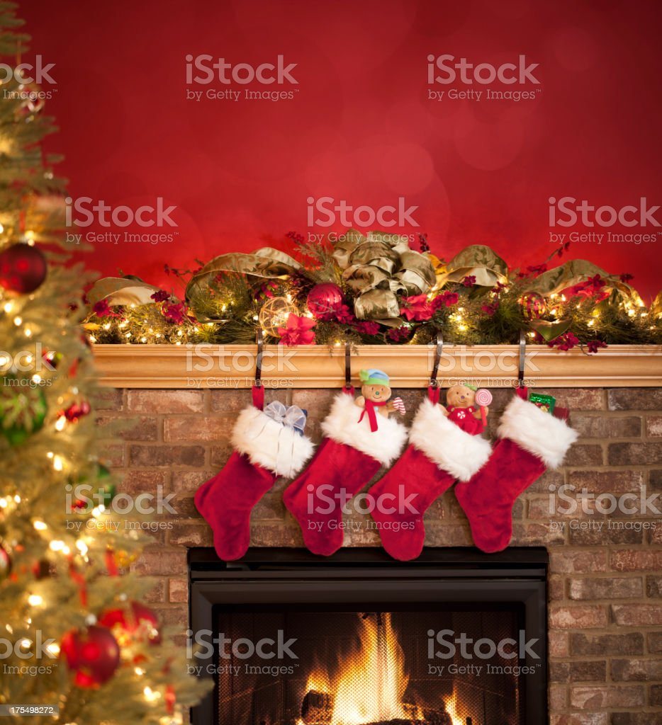 Fireplace Decorated for Christmas stock photo