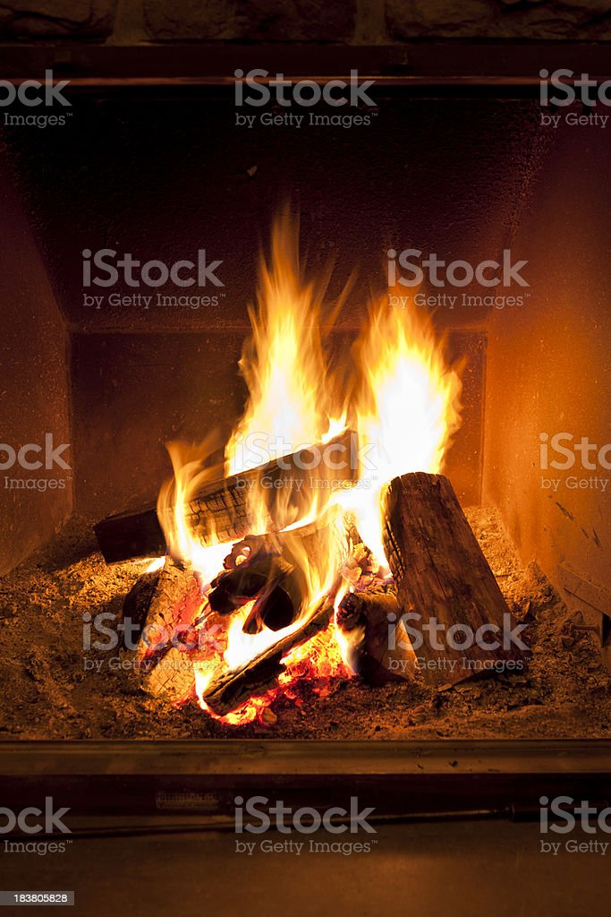Fireplace flames in winter royalty-free stock photo