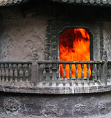 fireplace for burning sacrificial money in Buddhist temple