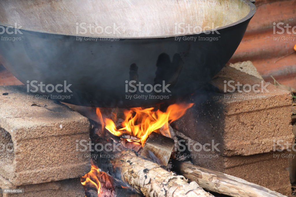 Fireplace Design fireplace cooking : Fireplace For Cooking Mauritius Indian Ocean Africa stock photo ...