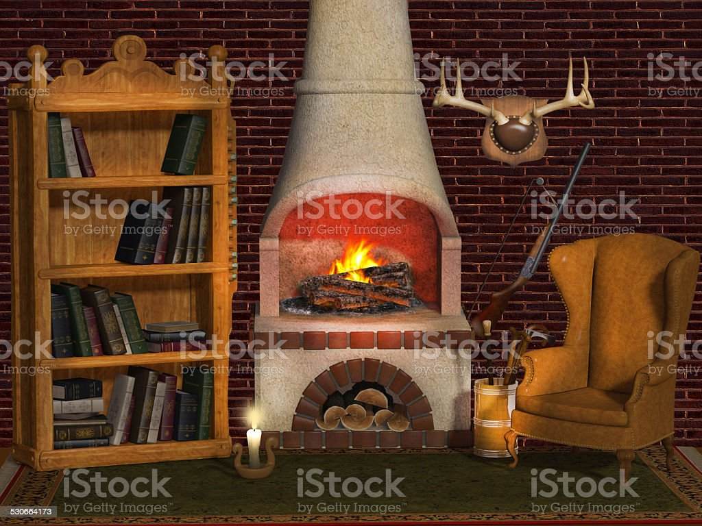 Fireplace, Hunter's house stock photo