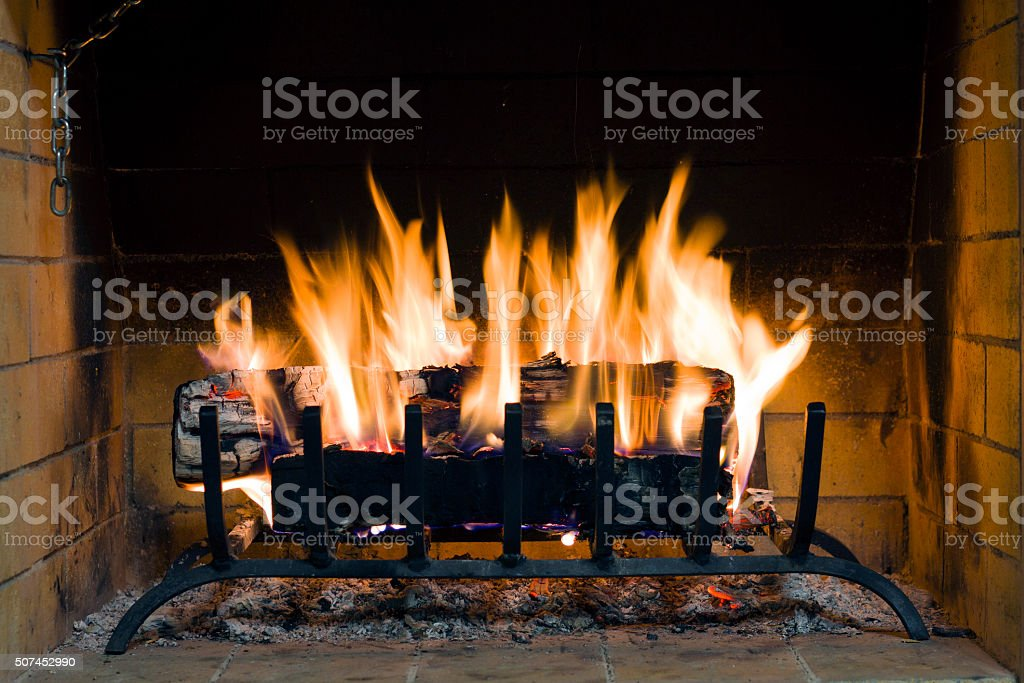 fireplace in a country house stock photo