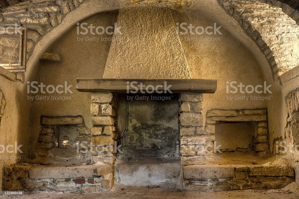 Fireplace in a Farmhouse royalty-free stock photo