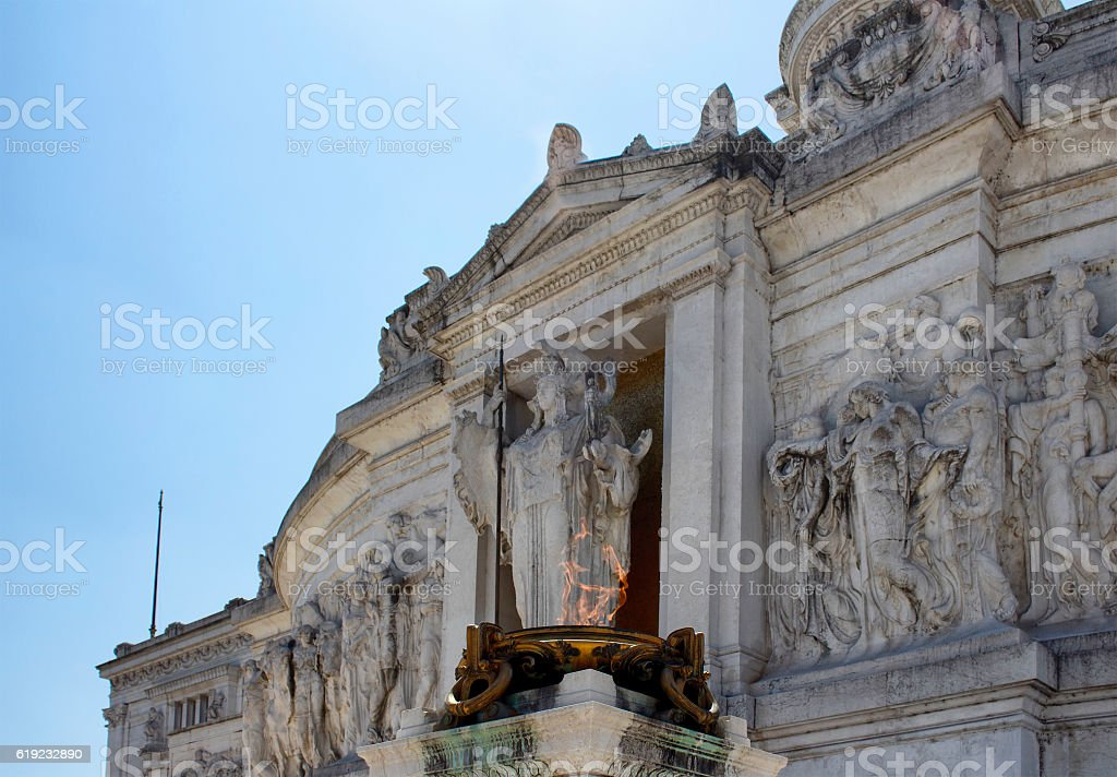 Fireplace in front of statues at Altar of the Fatherland stock photo