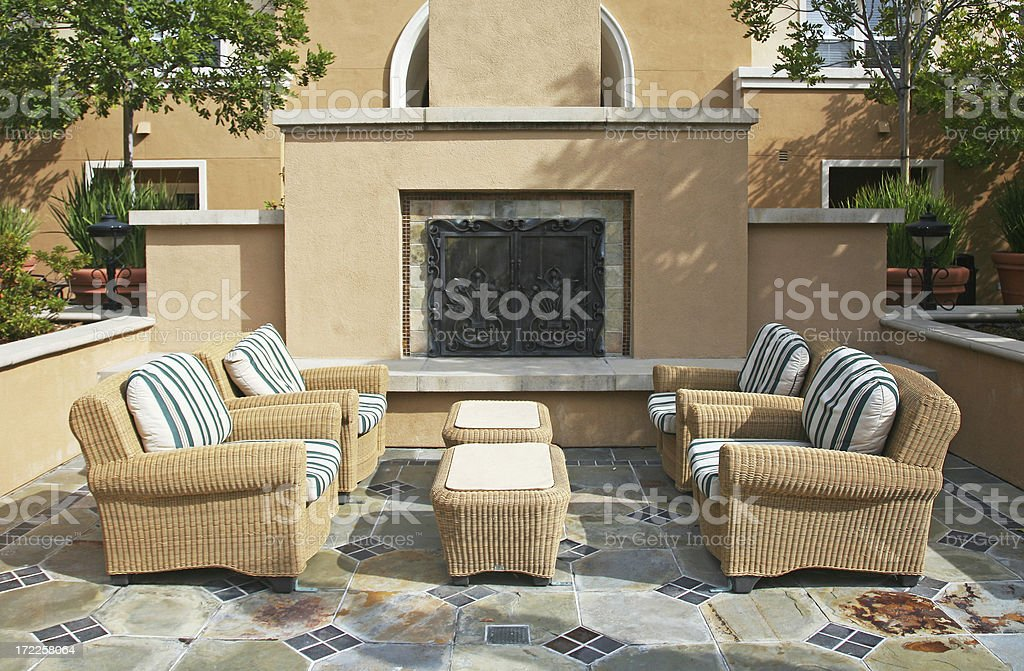 Fireplace in Outdoor Patio stock photo
