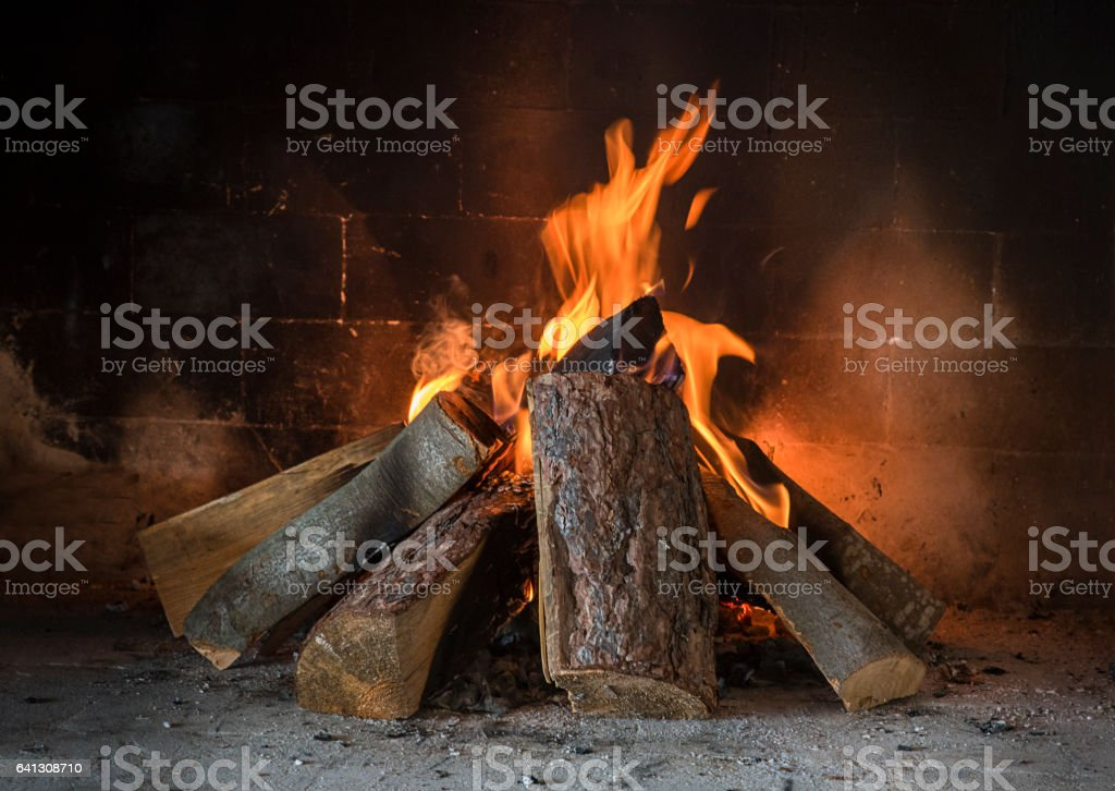 Fireplace in the house stock photo