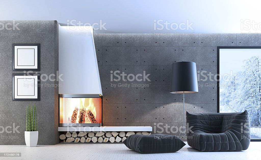 Fireplace Living Room Winter scene royalty-free stock photo