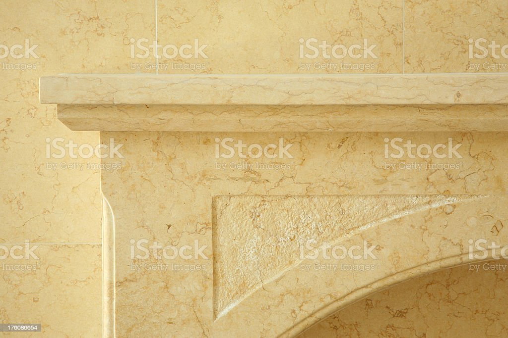 Fireplace Mantel in Natural Limestone stock photo