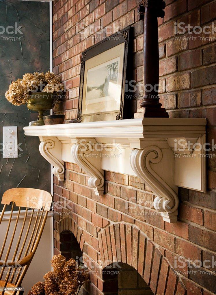 Fireplace Mantel stock photo