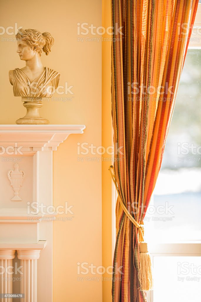 Fireplace mantle and window royalty-free stock photo