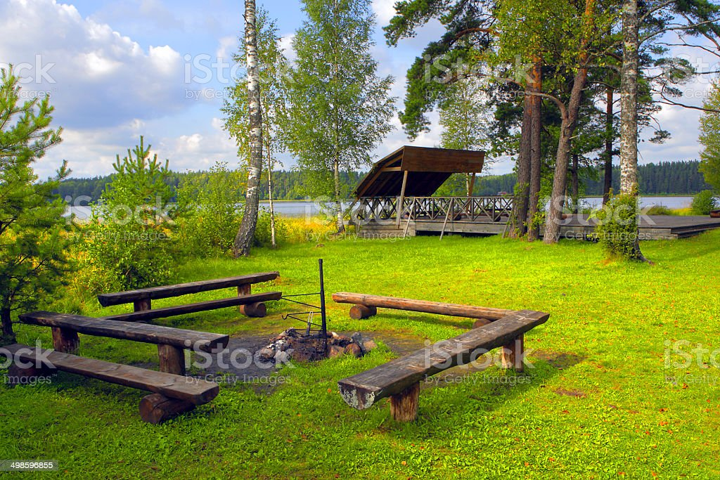 Fireplace on hiking route. stock photo