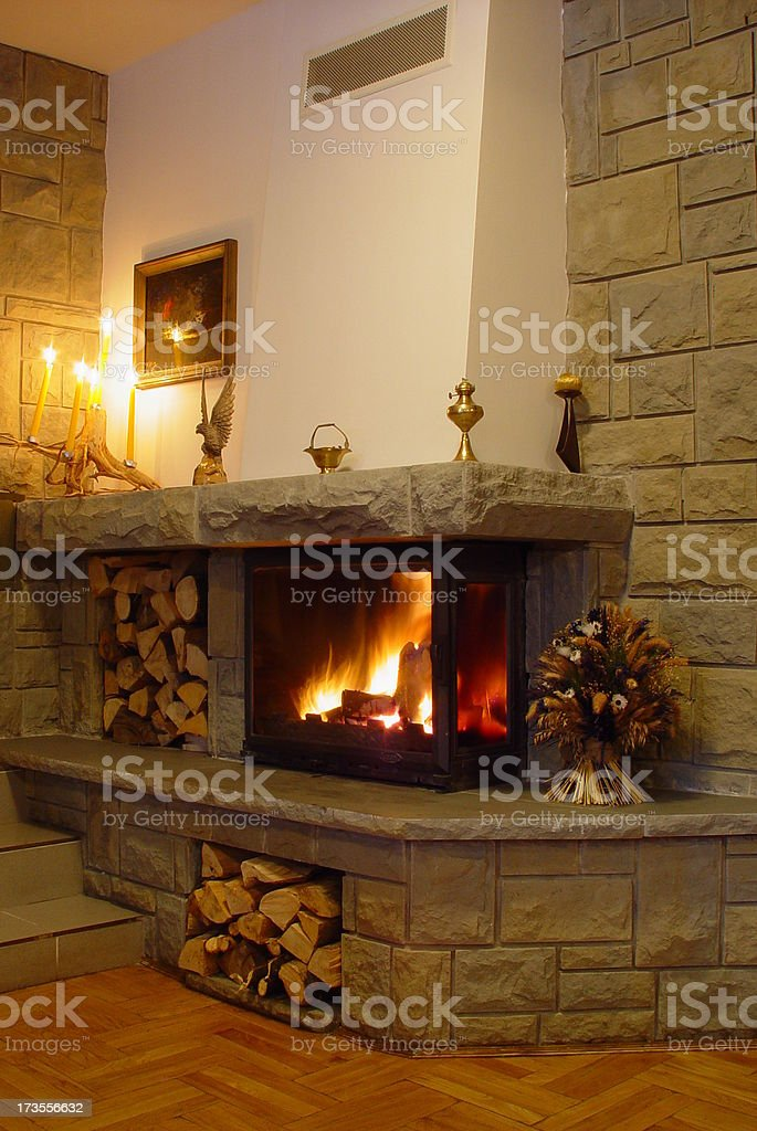 fireplace royalty-free stock photo