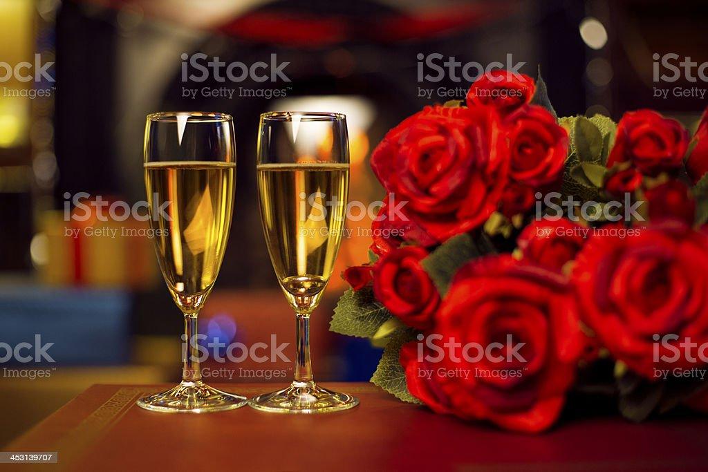 Fireplace Romance stock photo