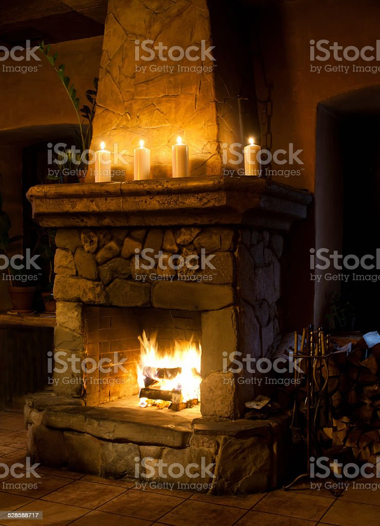 Fireplace room. stock photo