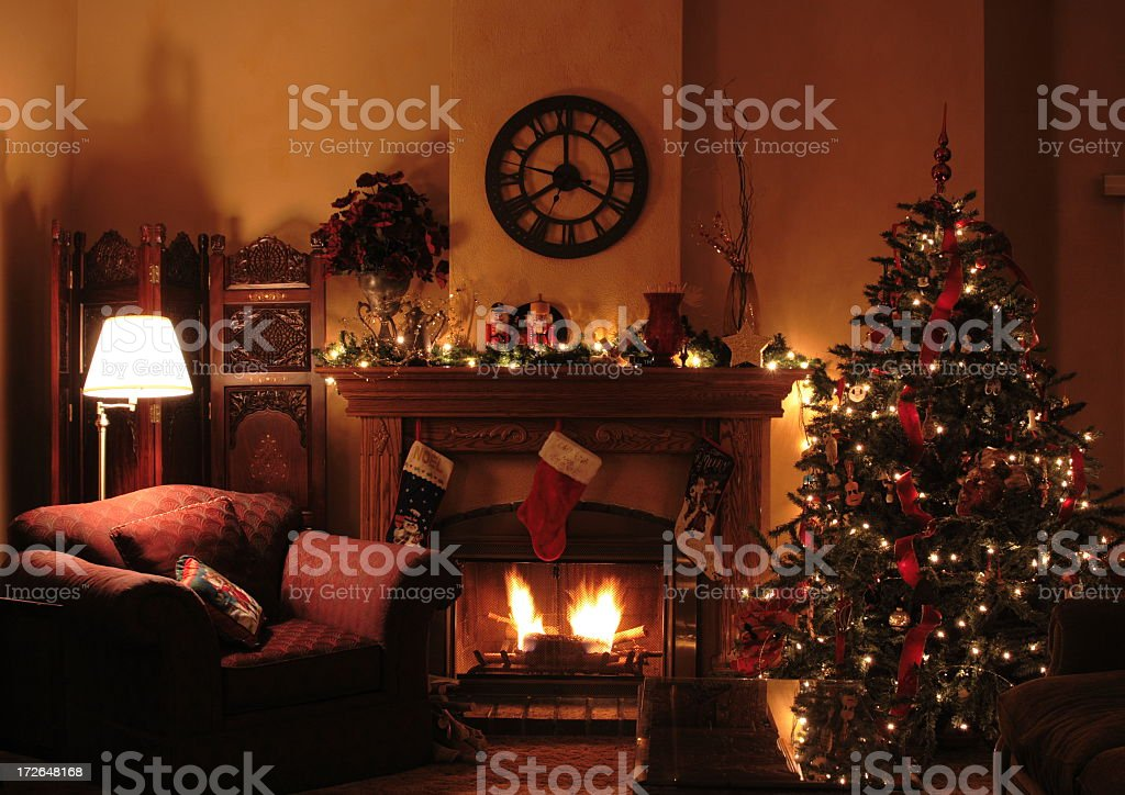 Fireplace Scene Of Dressed Up Christmas Living Room stock photo ... : fireplace scene : Fireplace Design