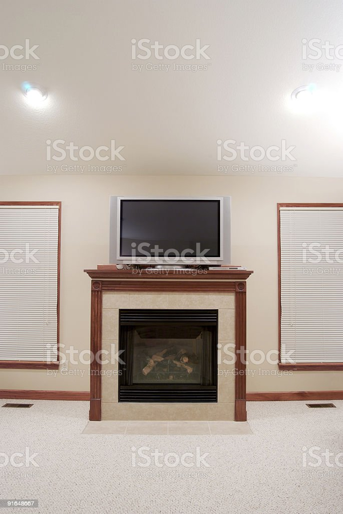 Fireplace & TV royalty-free stock photo