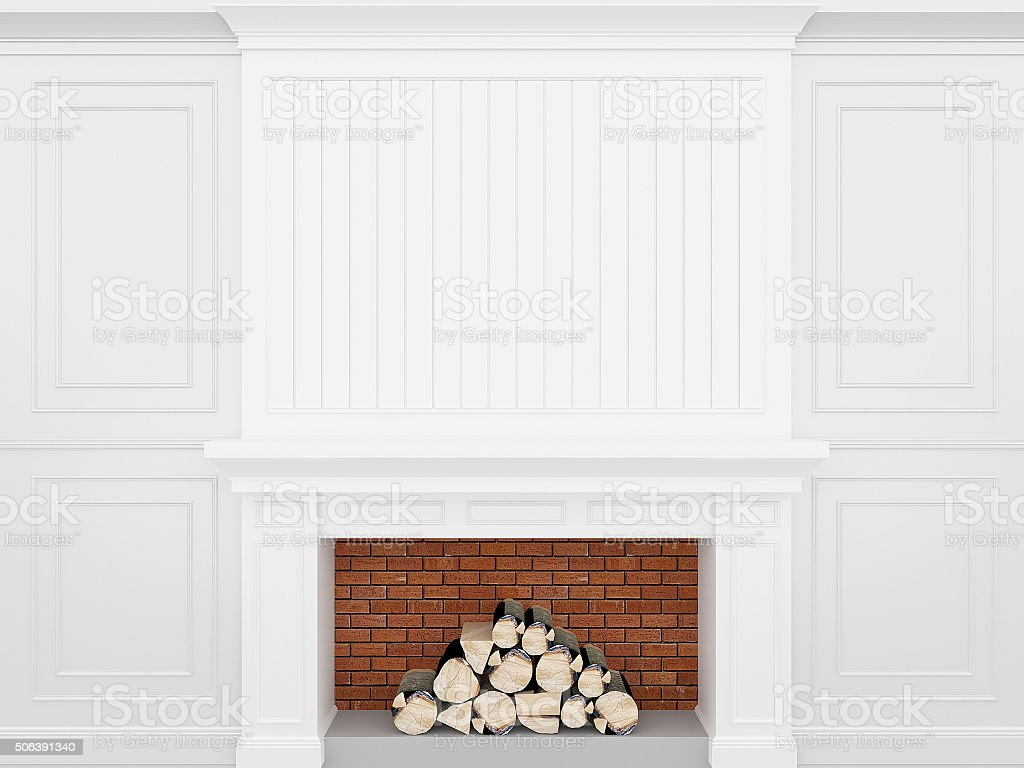 fireplace with classic white wall ,3d render stock photo