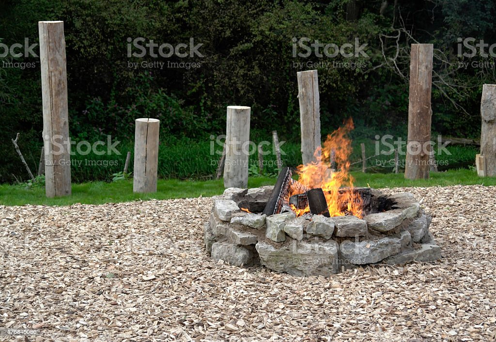 fireplace with fire royalty-free stock photo