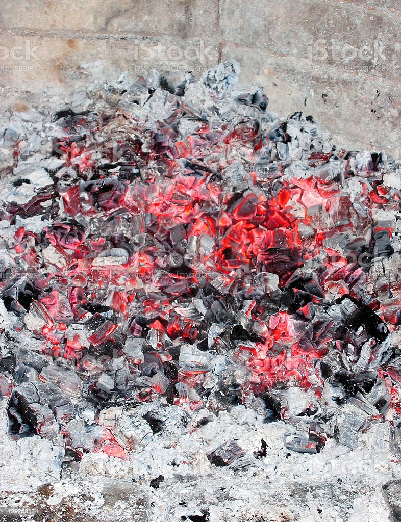 A fireplace with hot coals royalty-free stock photo
