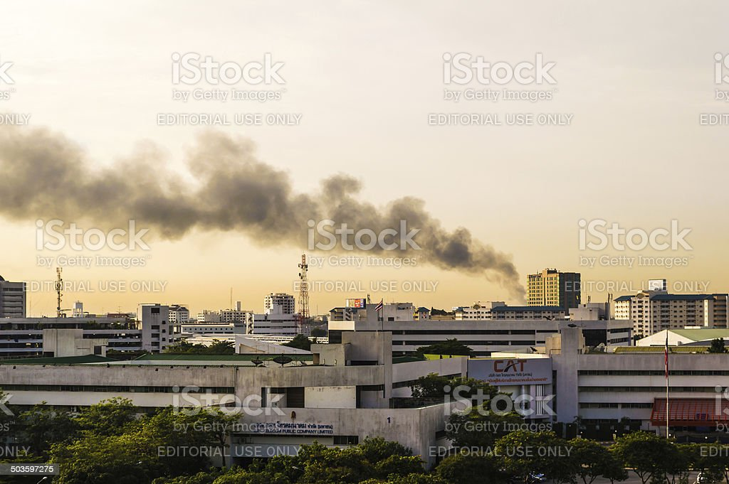 Fires in the city stock photo