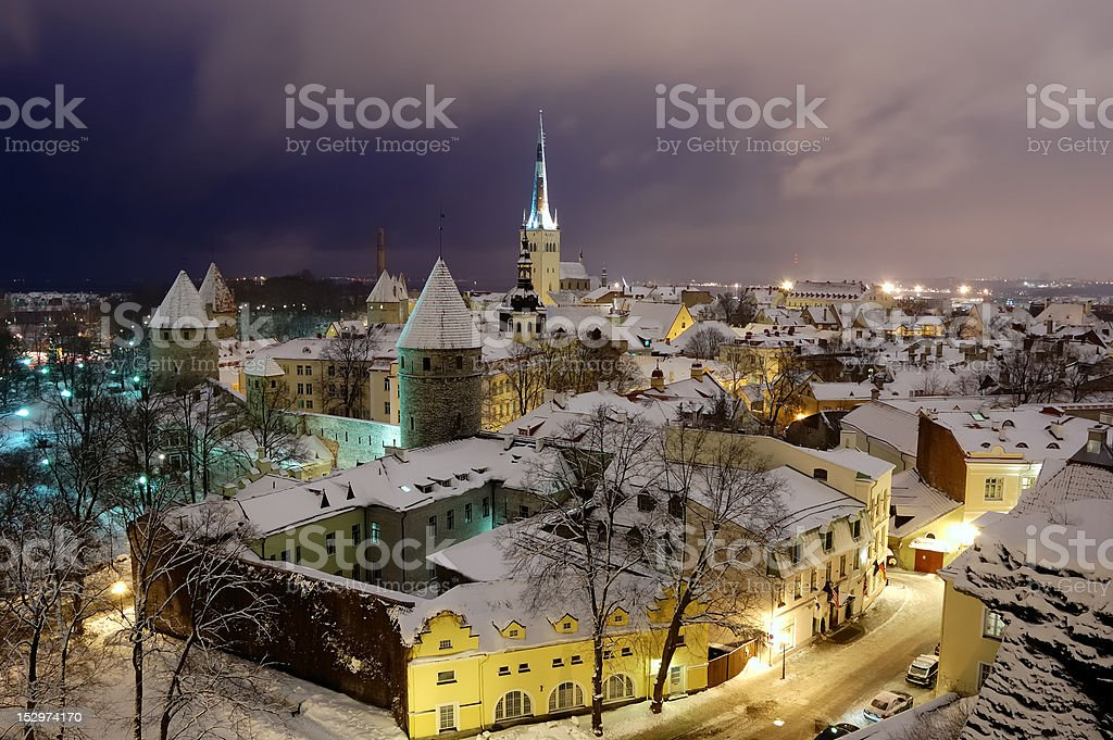 Fires of winter old Tallinn royalty-free stock photo