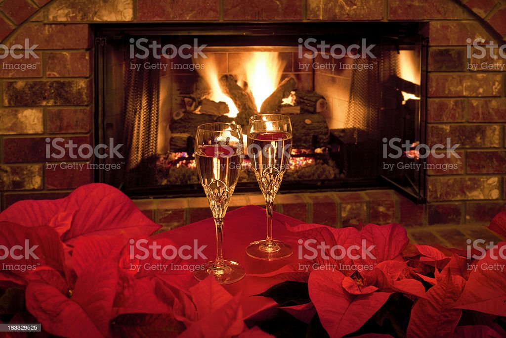 Fireside Champagne at Christmas stock photo