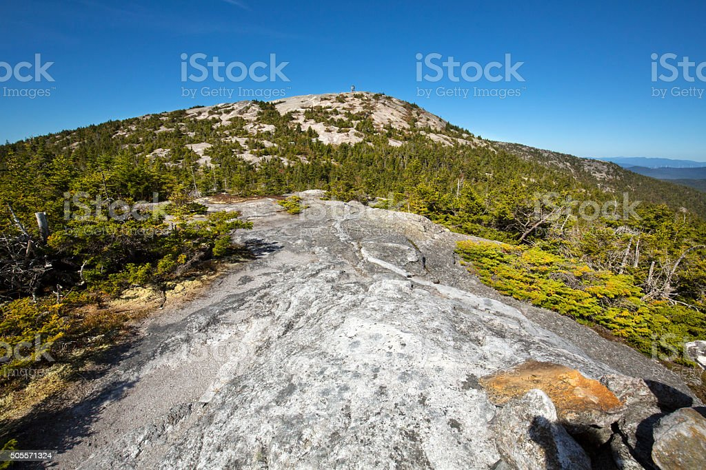 Firetower on open granite dome, summit, Mt. Cardigan, New Hampsh stock photo