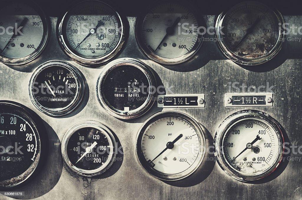 Firetruck Control Panel stock photo