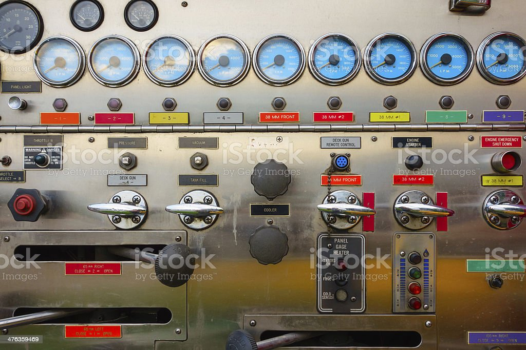 Firetruck instrument panel royalty-free stock photo