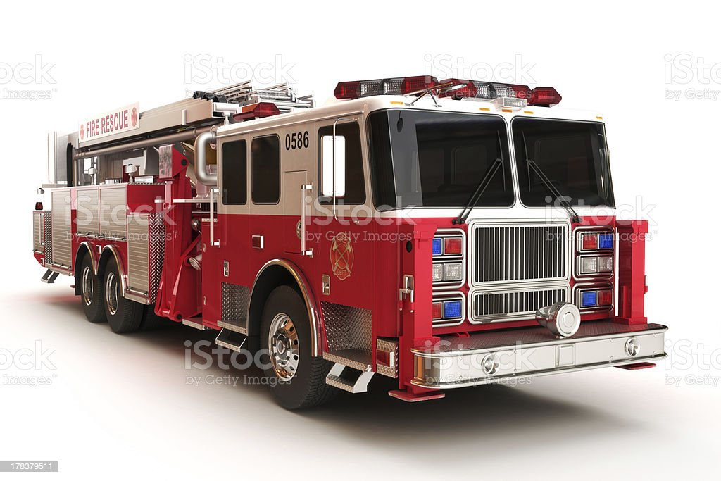 Firetruck on a white background stock photo