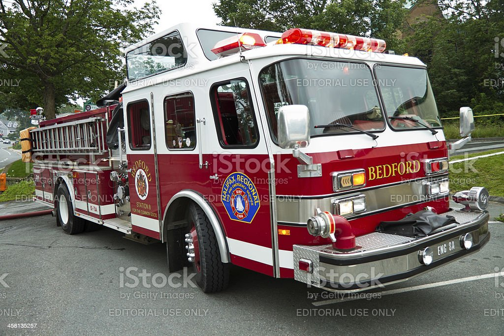 Firetruck on Scene With Lights Flashing stock photo