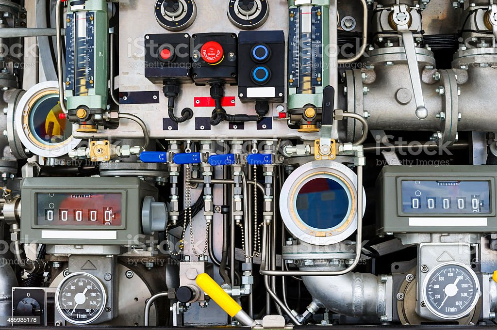 Firetruck pumping and valve control panel stock photo