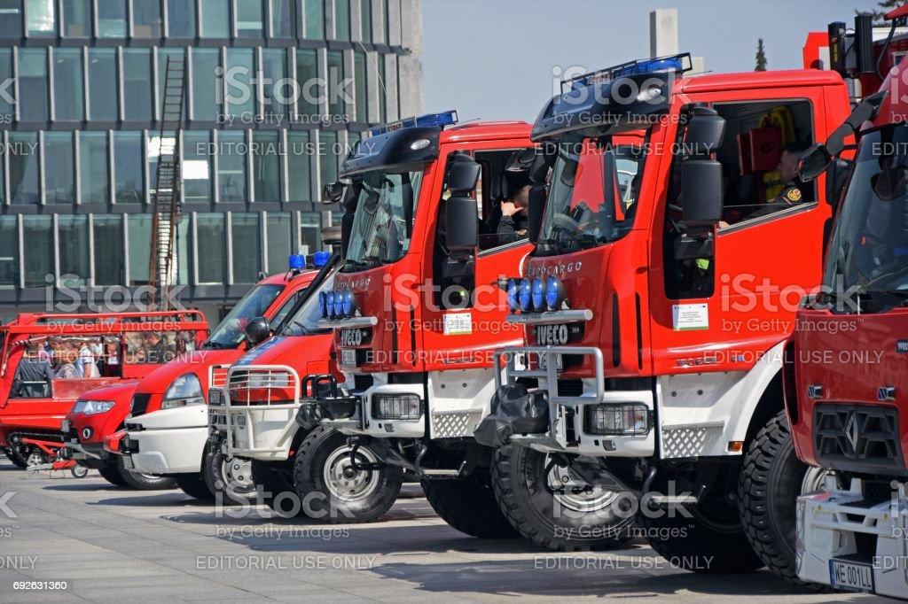 Firetrucks on the public exhibition stock photo