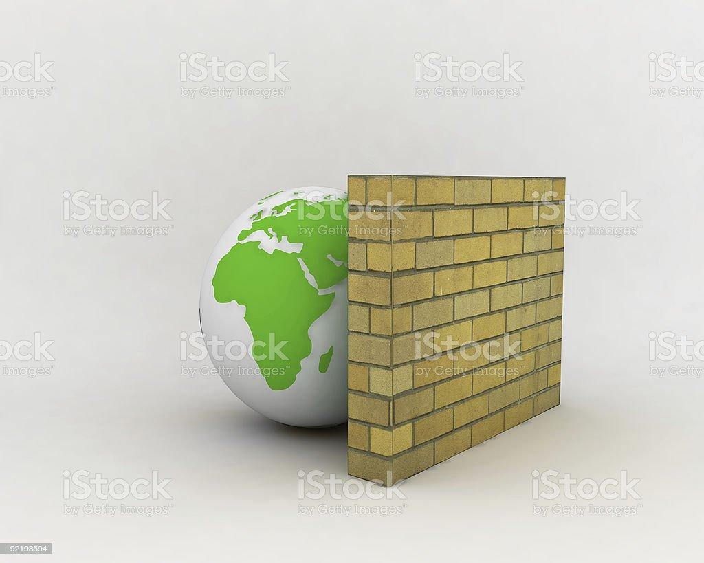 firewall and globe royalty-free stock photo