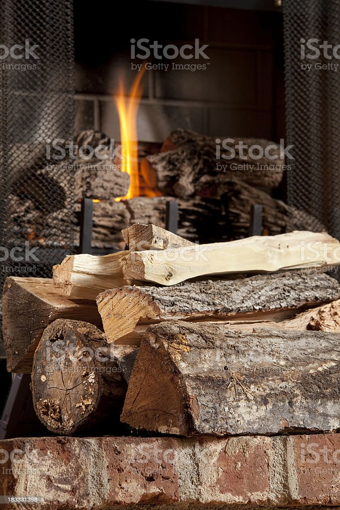 Firewood and Fire royalty-free stock photo