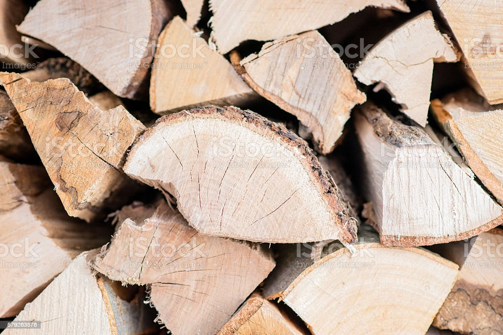 Firewood dry chopped logs in a pile close up stock photo
