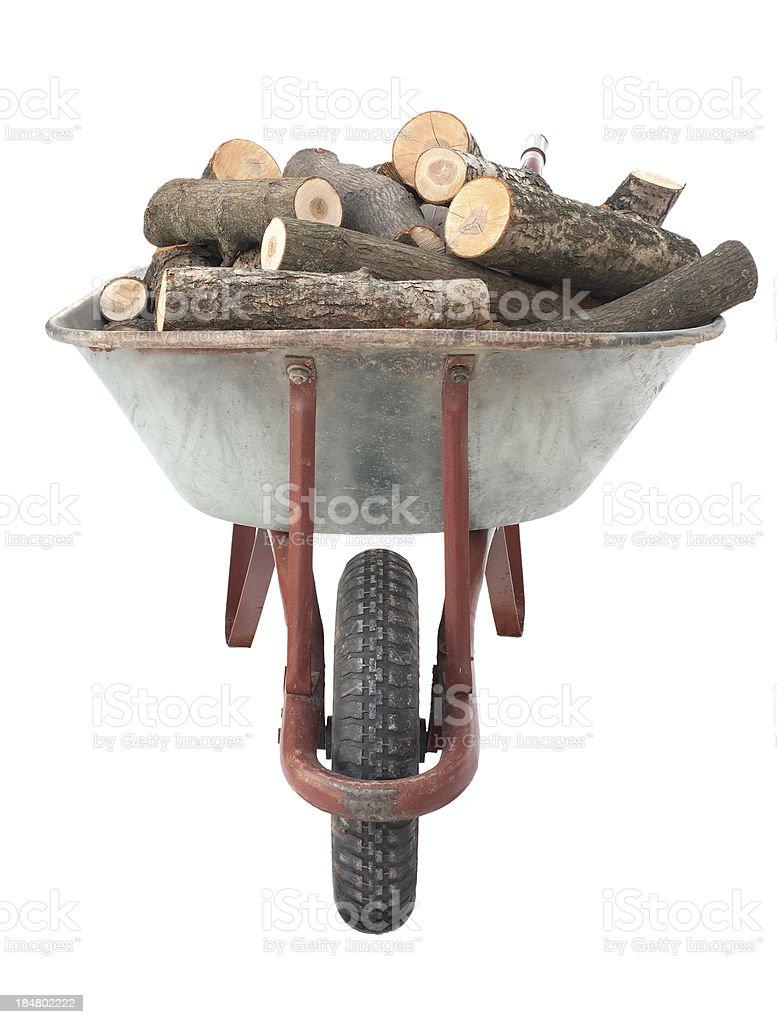 Firewood in old wheelbarrow stock photo