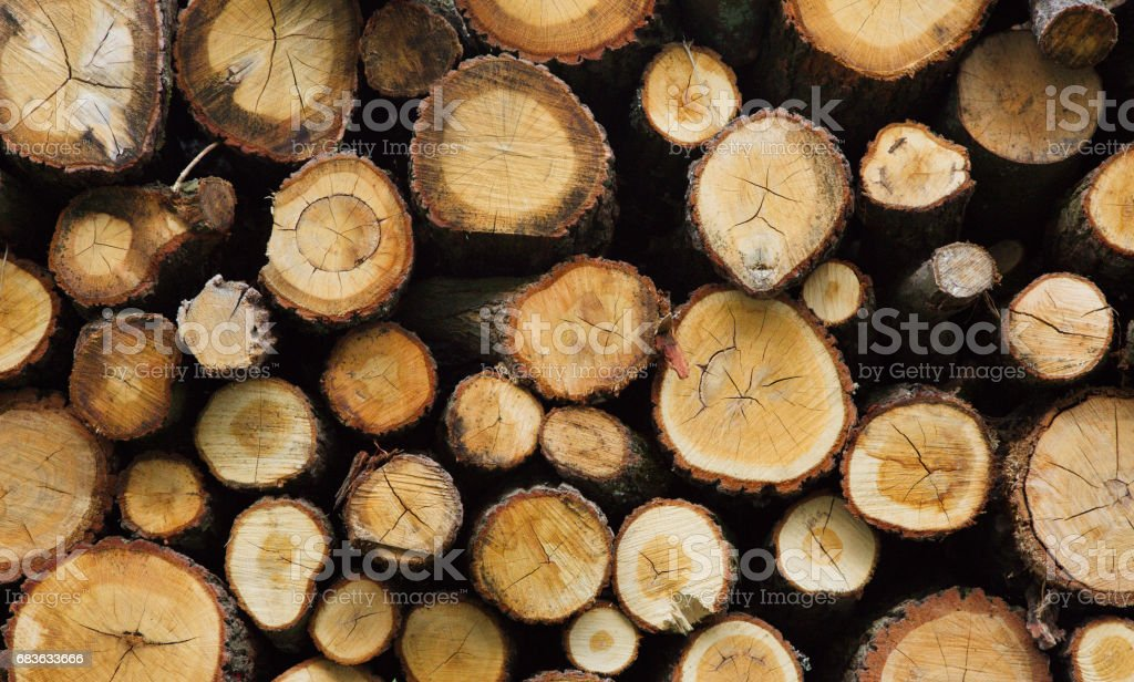 Firewood in the stack Background stock photo