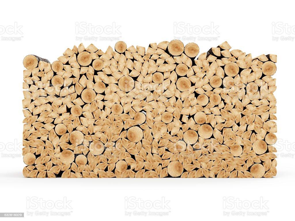 Firewood Logs isolated on white background stock photo