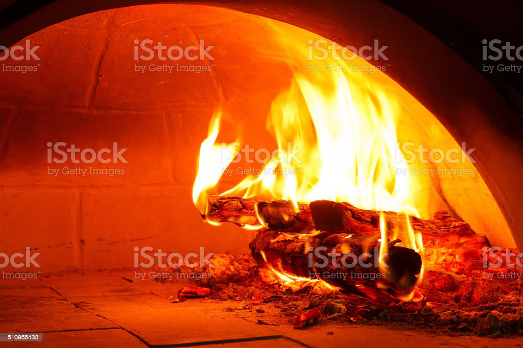 Firewood oven for bake pizza stock photo