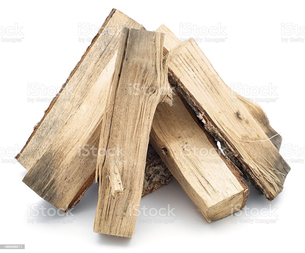 Firewood pile isolated on white royalty-free stock photo