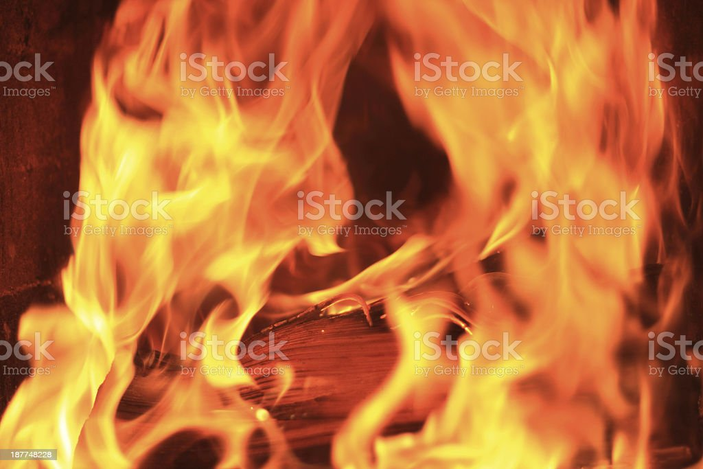 firewood with intence flames stock photo