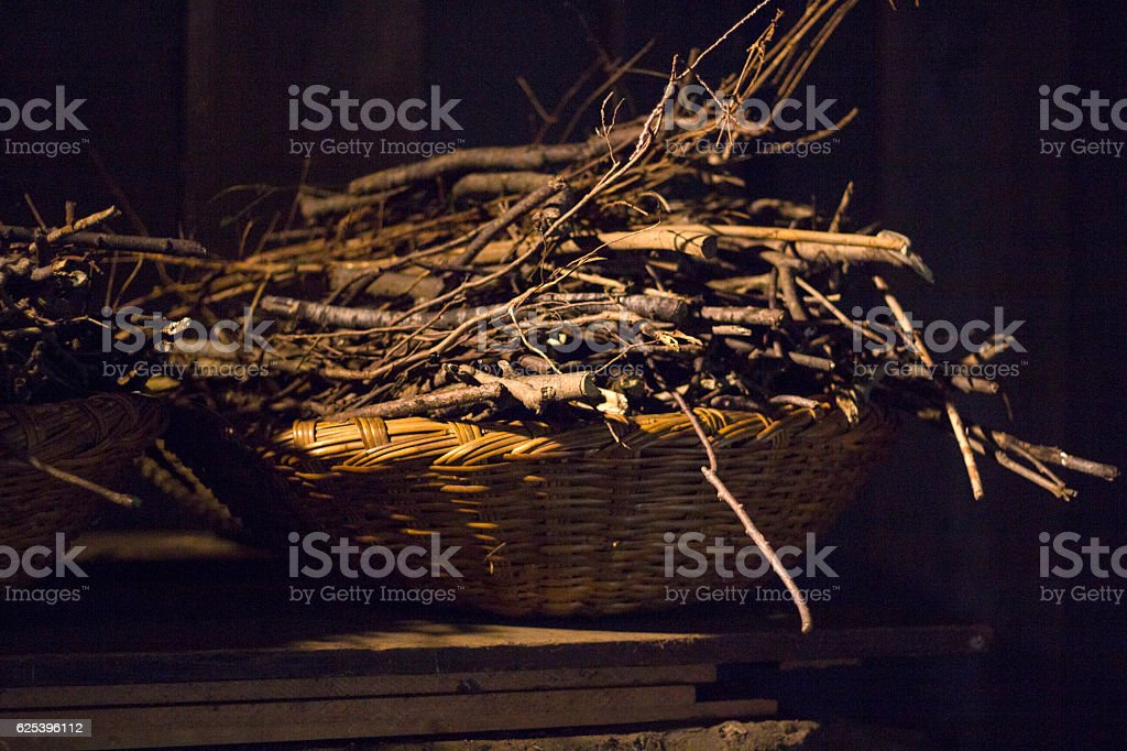 Firewoods for old cooking stove stock photo