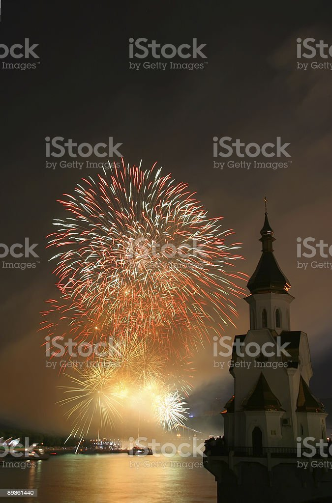 firework and church on river royalty-free stock photo