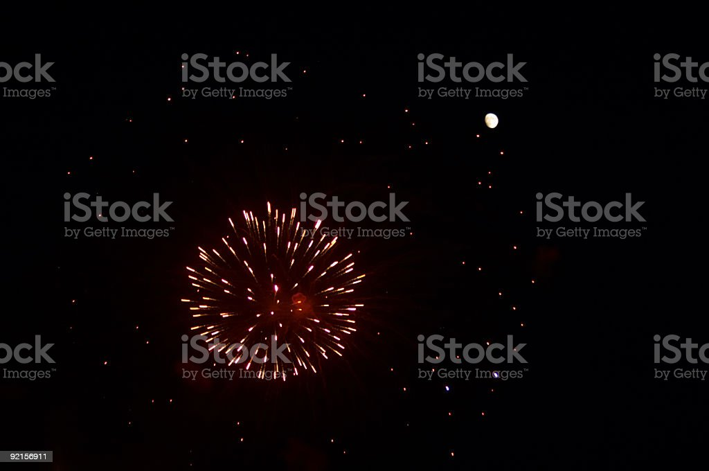 Firework and moon royalty-free stock photo