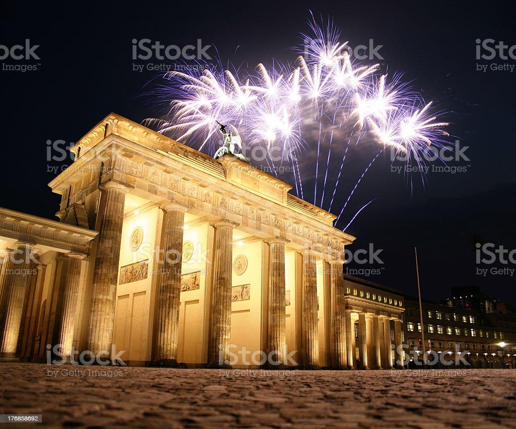 Firework at Brandenburg Gate in Berlin, Germany royalty-free stock photo