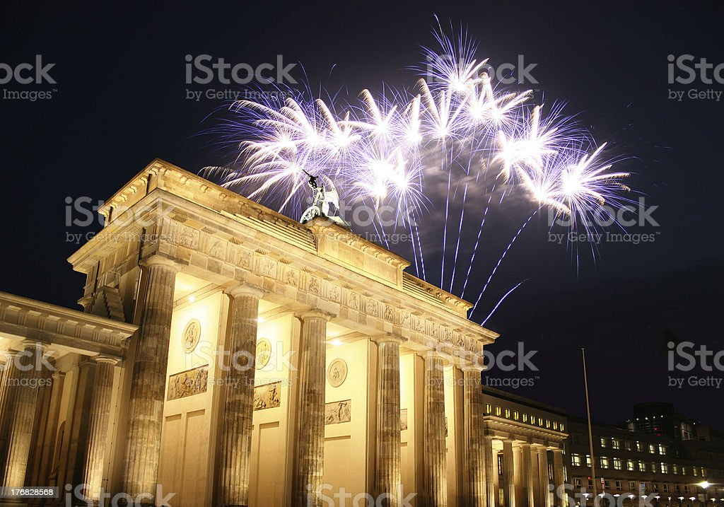 Firework at Brandenburg Gate in Berlin royalty-free stock photo