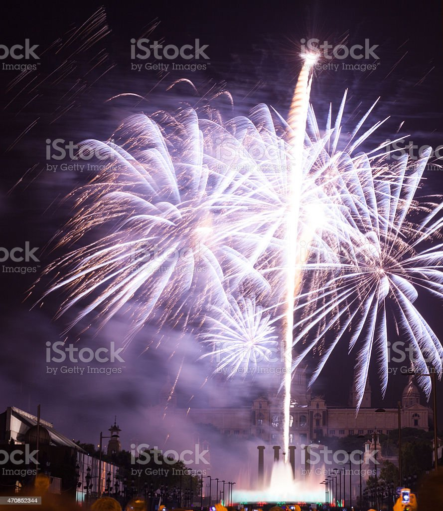 firework at Plaza de Espana. Barcelona stock photo